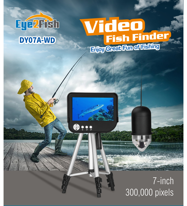 "Eye2Fish DY07A-WD Underwater Fishing Camera 7"" 360° Rotation Wi-Fi Depth/Temp Video/Photo capture"