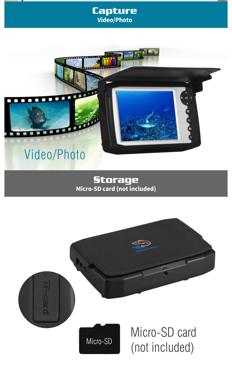 Capture Video/Photo, Micro-SDI card (not included)