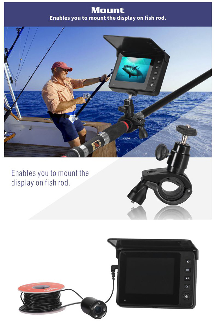 Enables you to mount the display on fish rod.