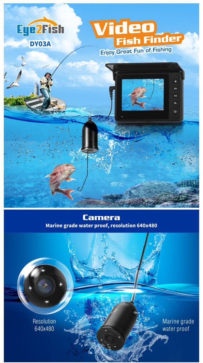 Eye2Fish DY03A Underwater Fishing Camera. Enjoy Great Fun of Fishing.