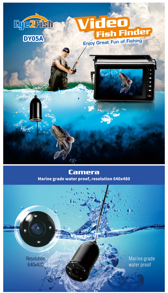"Eye2Fish DY05A Underwater Fishing Camera 5"" High Brightness Panel 40kg Cable Strength Video Photo Capture"